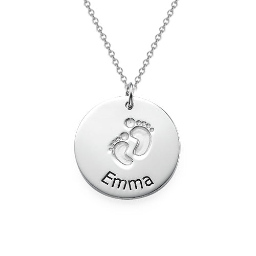 Baby Footprints Necklace with Name Silver