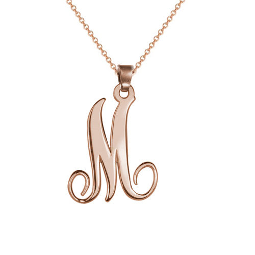 18k Rose Gold  Initial Necklace With One Letter