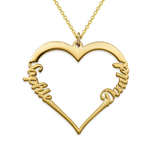 18K Gold Plated Two Name Heart Necklace