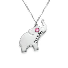 Lucky Elephant Necklace Engraving Name Sterling Silver