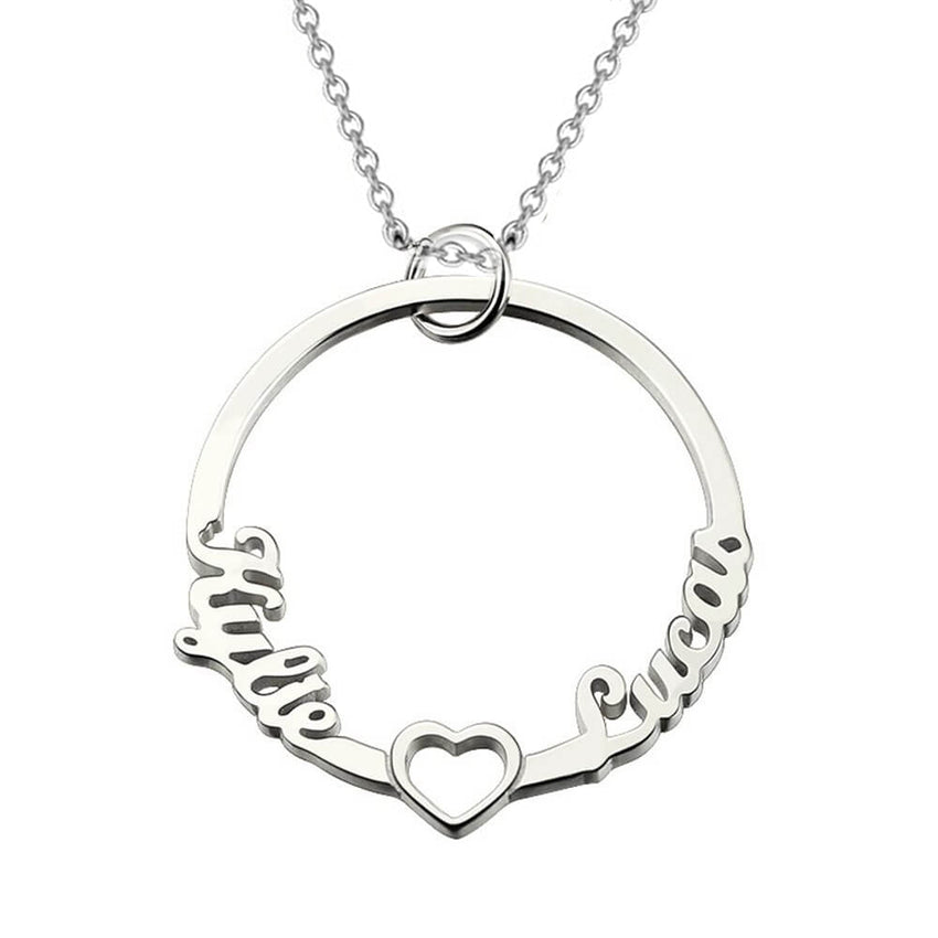 Silver Circle Two Name Necklace with heart
