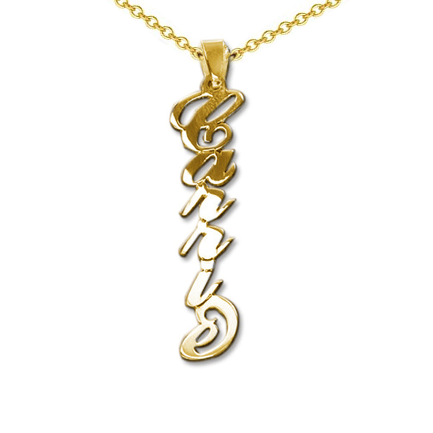 Vertical 18k Gold Engraved Name Necklace Carrie-Style