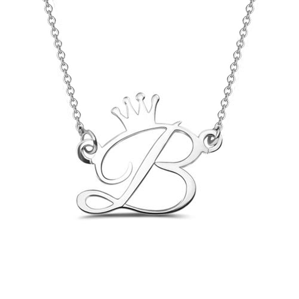 Personalize Initial Crown Necklace In Sterling Silver