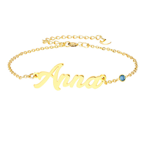 Gold Plated Classic Personalized Name Anklet
