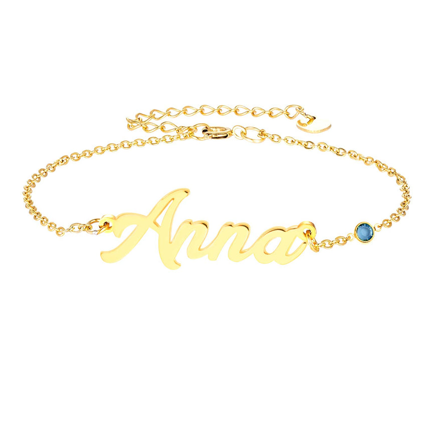 18k Gold Plated Classic Personalized Name Anklet