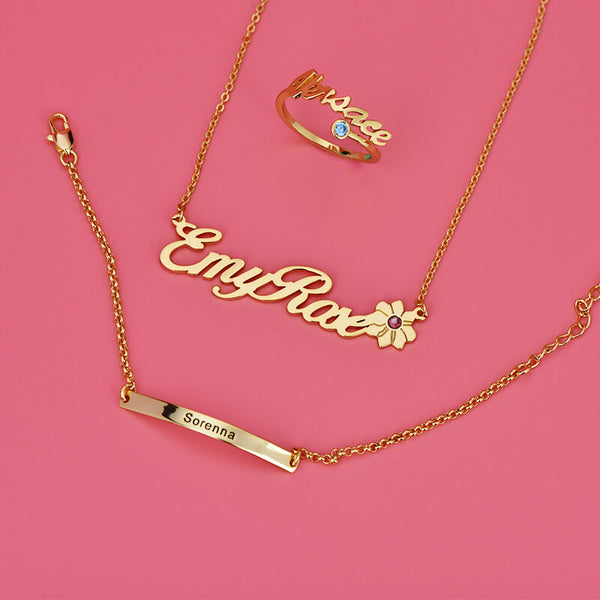 18k Gold Plated Customized Name Necklace Bracelet and Ring - Silviax