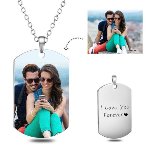 Stainless Steel Personalized Engraved Color Photo Necklace