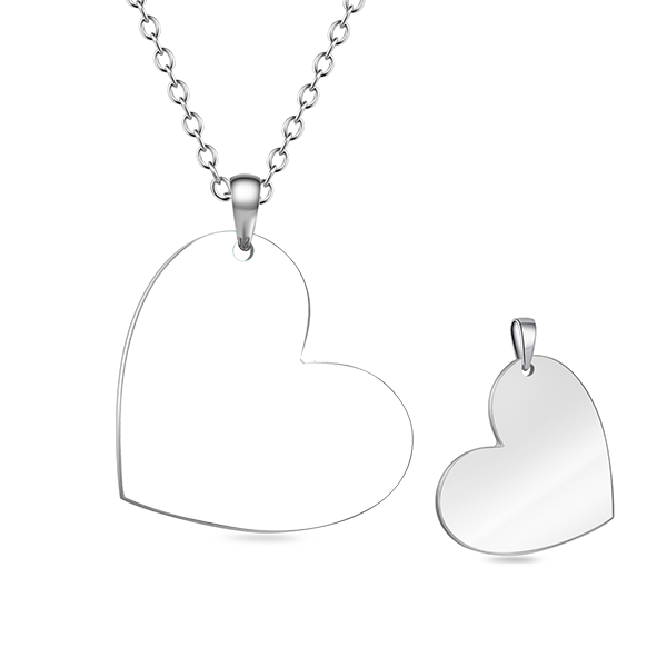 Stainless Steel Personalized Love Heart Color Photo Necklace