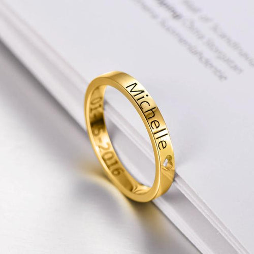 18K Gold Plated Personalized Cut Out Heart Name Ring