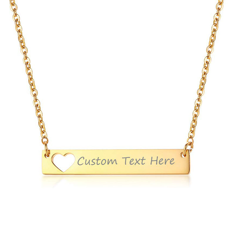 18K Gold Plated Hollow Out Heart Bar Necklace