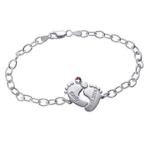 Engraved Baby Feet Bracelet 925 Sterling Silver