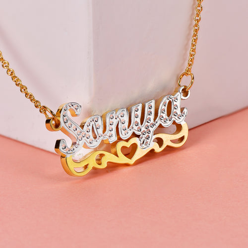 Hollow Heart Two Tone 18K Gold Plated Personalized Name Necklace
