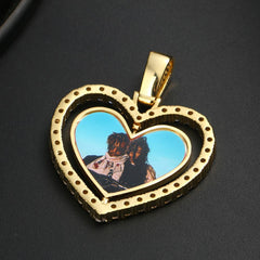 18k Gold Plated Heart Rotating Custom Double-Sided Photo Necklace