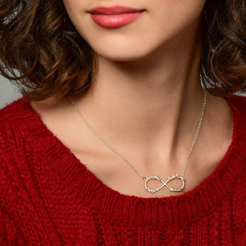 Infinity Necklace With Any 4 Names Silver