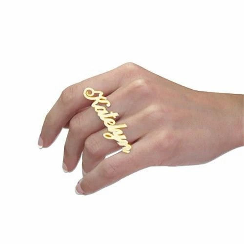 Personalized Name Earrings And Two Finger Ring Gold Plated