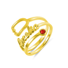 18K Gold Plated Personalized Birthstone Stethoscope Name Ring