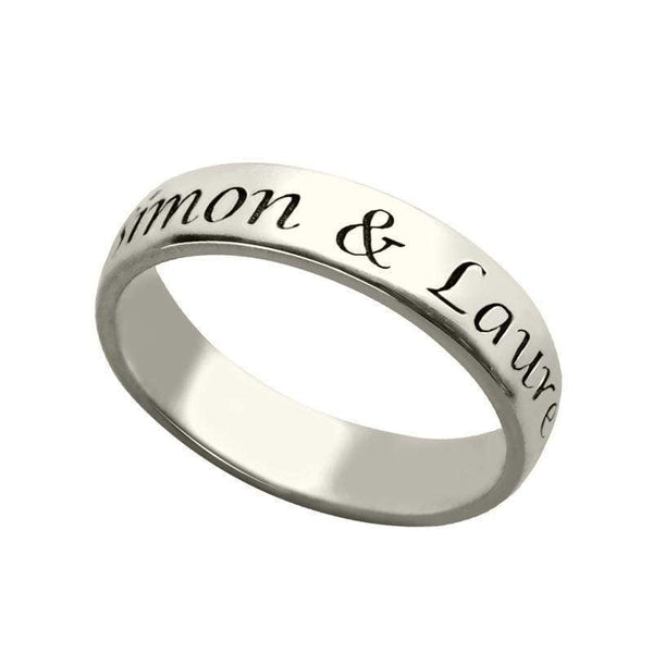Sterling Silver Engraved Name Ring For Mother Promise Rings