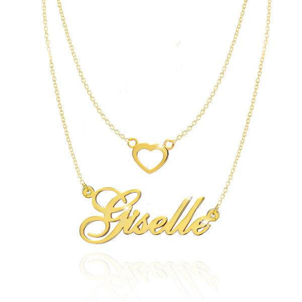 Gold Plated Personalized Double Chain Heart Name Necklace