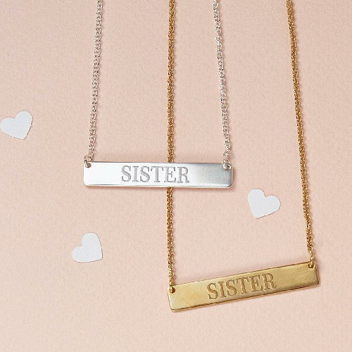 Horizontal Pendant Bar Necklace 18k Gold Engraved Name