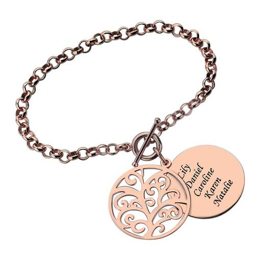 18K Personalized Tree of Life Bracelet - Silviax