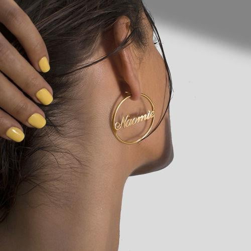 18k Gold Plated Hoop Name Earrings - Silviax