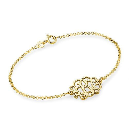 18K gold plated Monogram Bracelet Personalized - Silviax