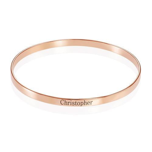 18K gold Engraved Bangle name Bracelet Custom - Silviax