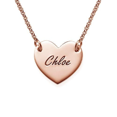 18k Gold Plated Engraved Name Heart Necklace