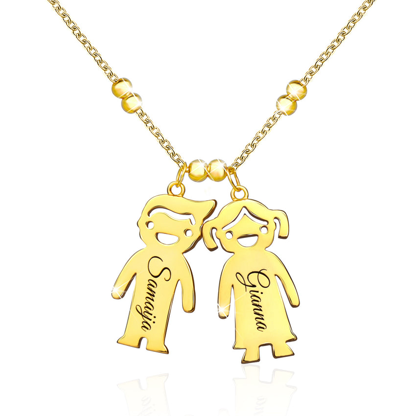 Mother's Necklace with two Name Children Family Necklace