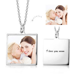 Stainless Steel/Copper/925 Sterling Silver Color Photo Message Necklace