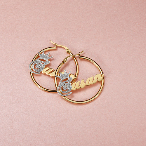 18K Gold Plated Personalized Two Tone Hoop Name Earrings with Crown