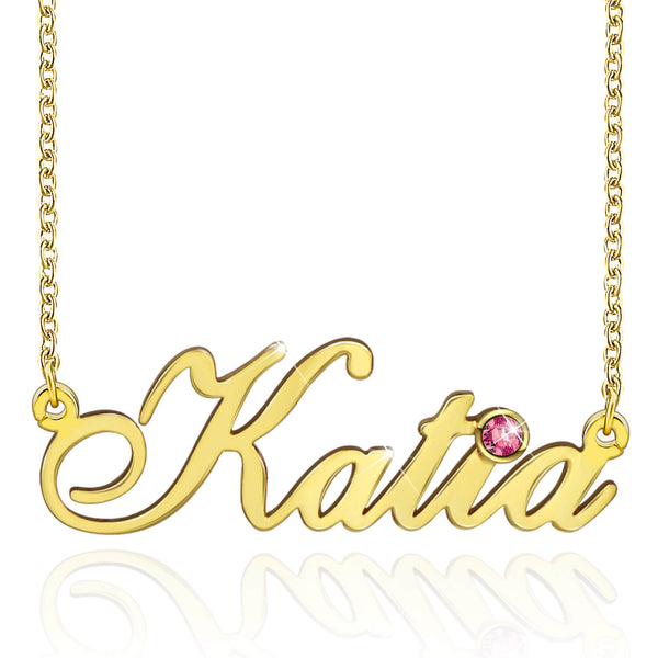 Best Selling Custom Engraved Gold Plated Namen Necklace With Birthstone