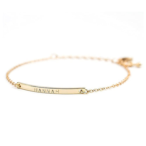 Personalized Name Plate Gold Bracelet