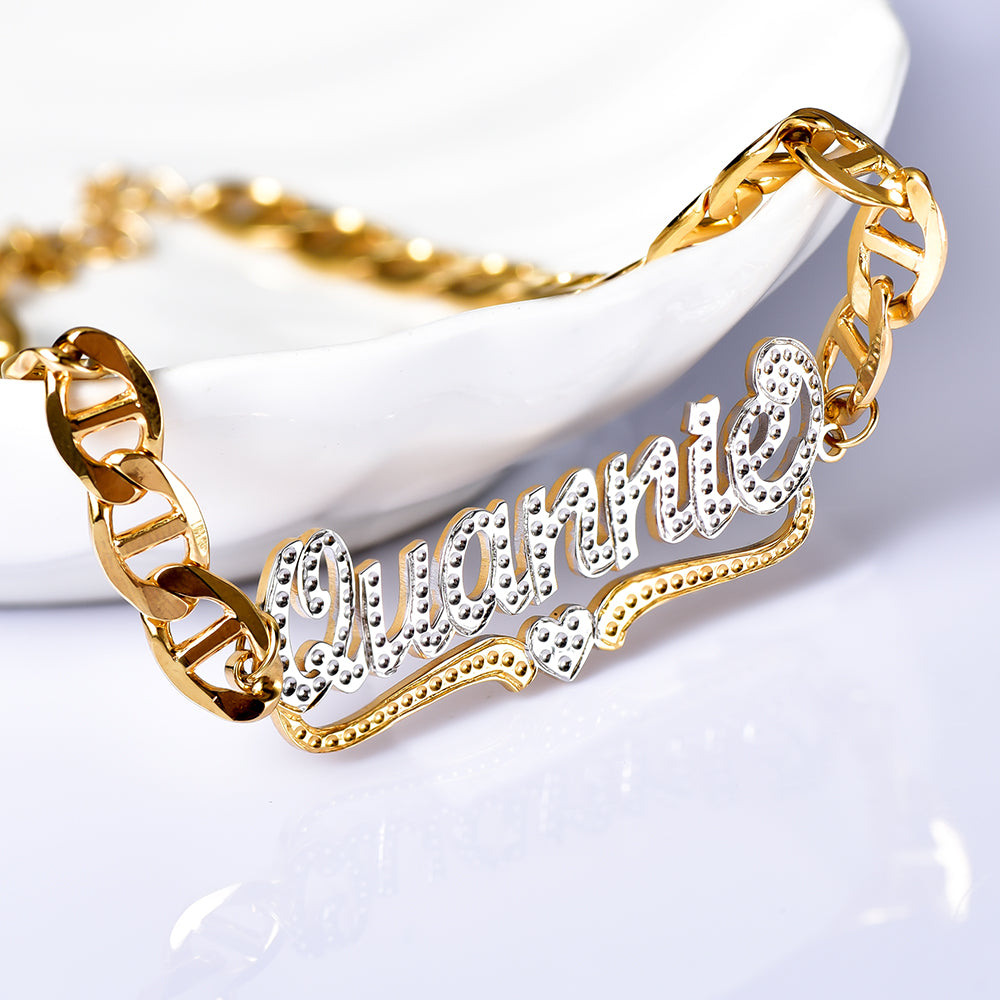 Two Tone Heart Personalized Custom Name Bracelet Bamboo Earring Set