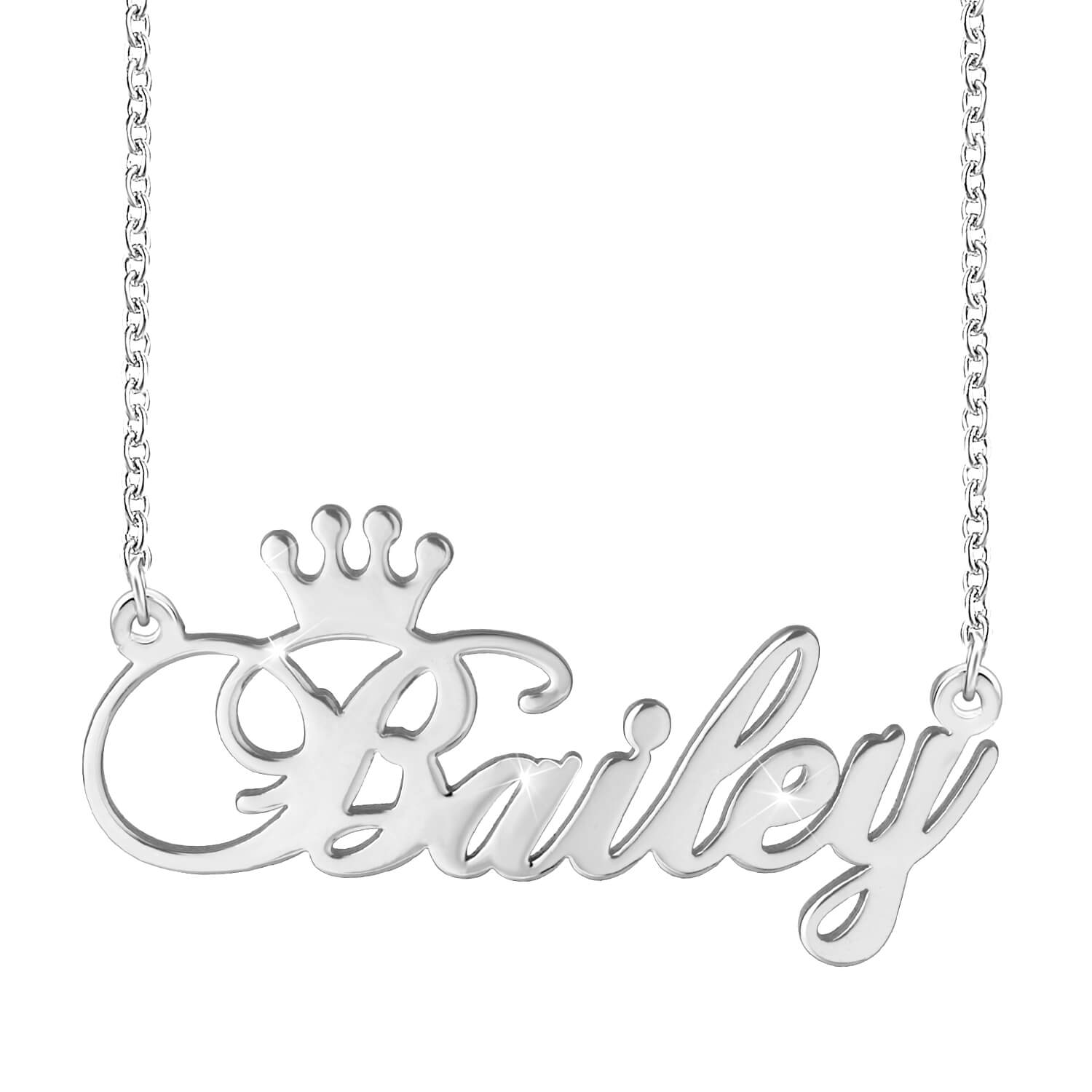 18K Gold Plated Crown Engraved Name Necklace  Personalized - Silviax
