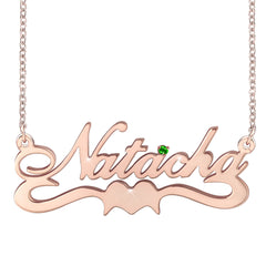 Custom Name Necklace 18K Gold Plated Nameplate Sterling Silver