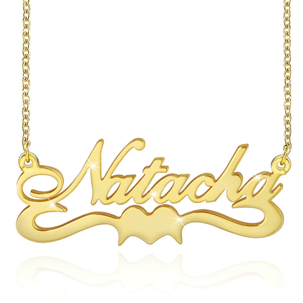 18K Gold Plated Custom Name Necklace Nameplate Sterling Silver - Silviax