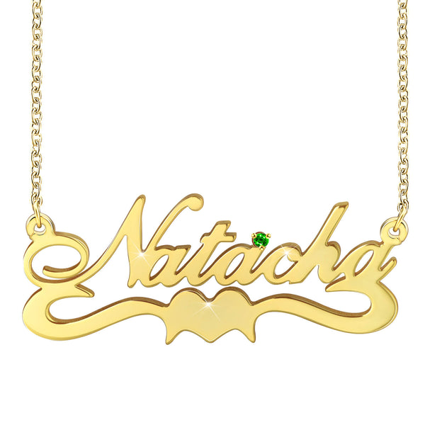18K Gold Plated Custom Name Necklace Nameplate Sterling Silver