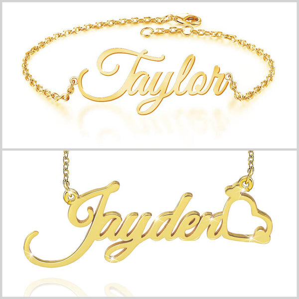 18K Gold Plated Personalized Customized Name Necklace and Bracelet - Silviax