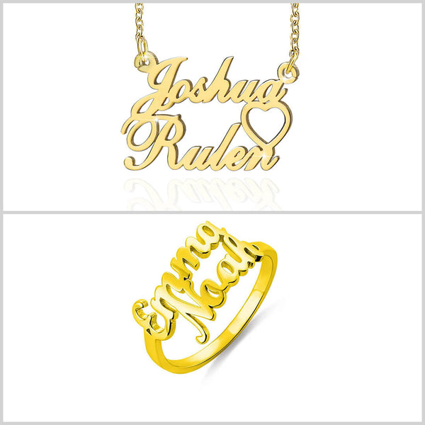 18K Gold Plated Personalized Custom Couple Name Necklace and Ring - Silviax