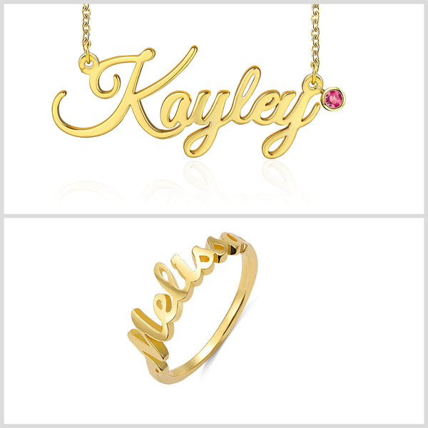 Birthstone Name Necklace And Ring Customized 18k Gold Plated