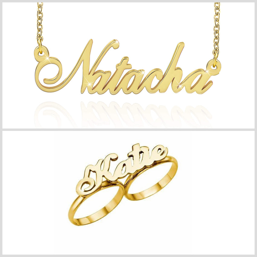 Personalized Gold Plated Two Finger Name Ring And Necklace