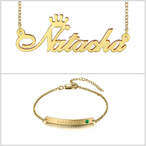 Bar Bracelet And Necklace With Crown Name 18K Gold Plated Personalized