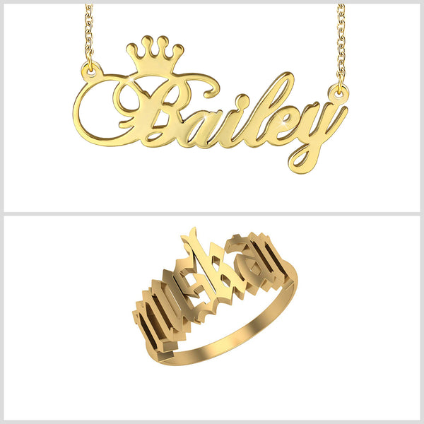 Personalized 18K Gold Plated With Crown Name Necklace And Ring