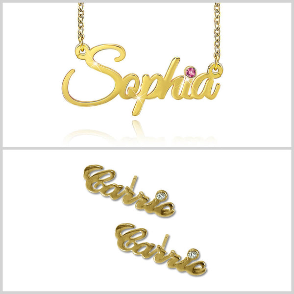 Personalized 18K Gold Plating With Birthstone Name Necklace And Earring