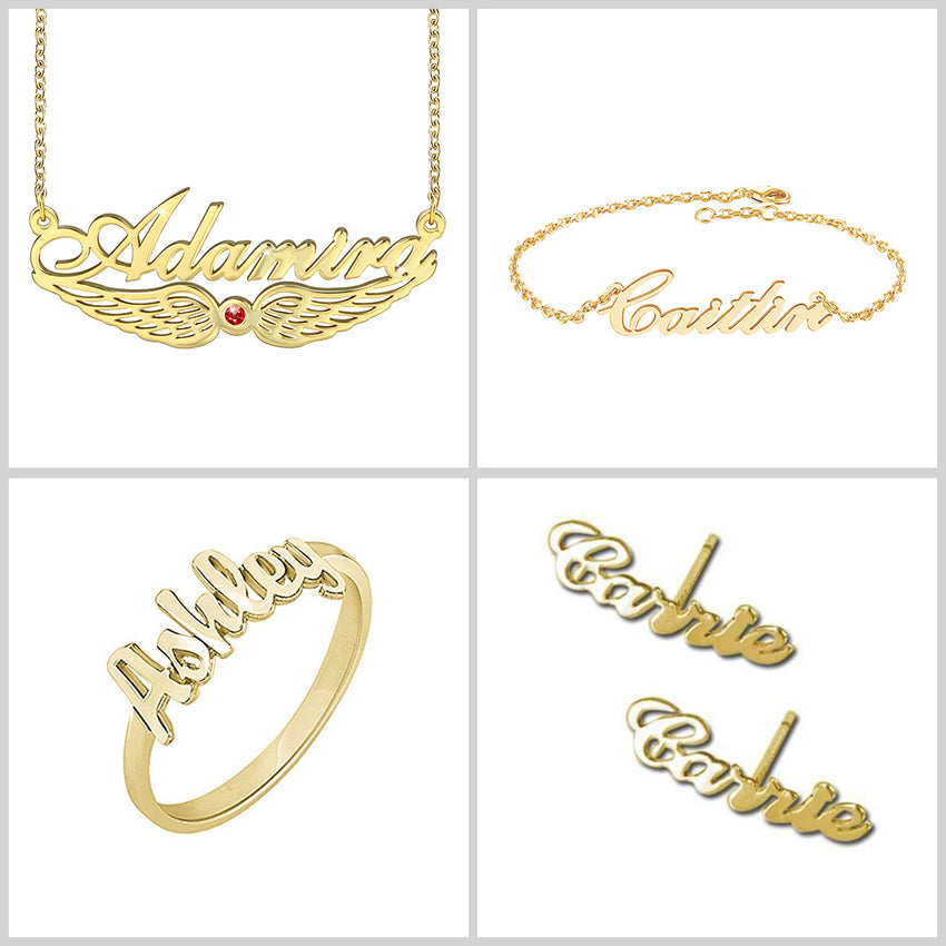 Personalized 18K Gold Plating Four Piece Name Necklace Bracelet Ring Earrings