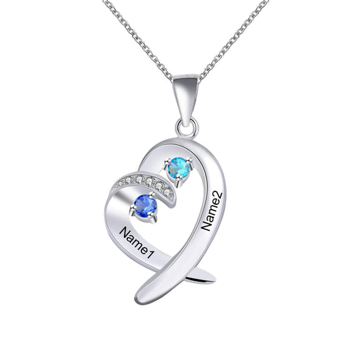 Couple Personalized 2 Name Heart Necklace with Birthstone