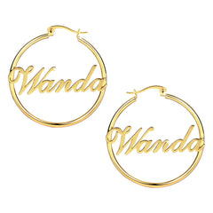 18k Gold Plated Hoop Name Earrings