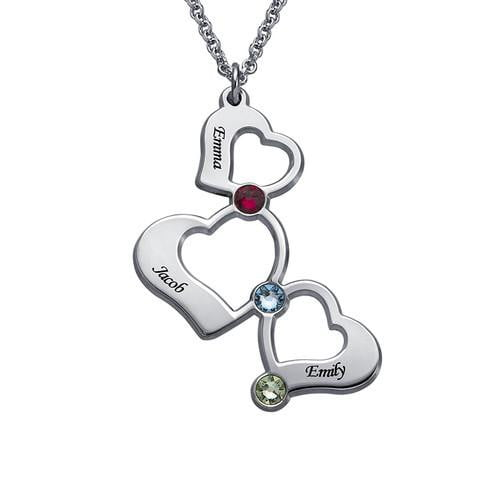 3 Heart Necklace Birthstones with 3 name Family Necklace - Silviax