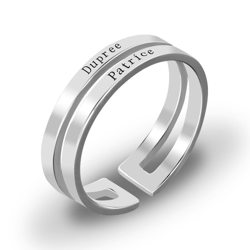 2 Name Promise Ring in Sterling Silver